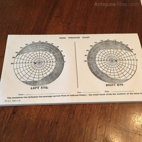 Vintage ophthalmic Hand Perimeter Charts
