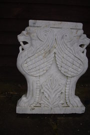 Carved marble table ends