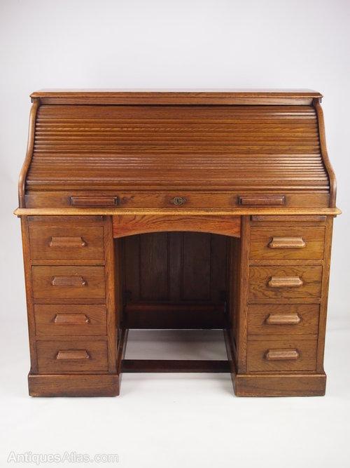 antique oak roll top bureau desk by lebus antiques atlas. Black Bedroom Furniture Sets. Home Design Ideas