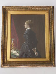 Antique Print of a Lady in Gil