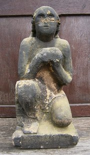 medieval carved stone figure o
