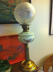 Art Nouveau Oil Lamp Handpaint