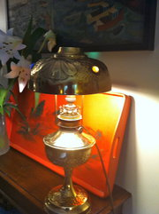 Art Nouveau Oil Lamp in Brass