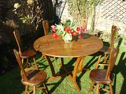 Golden oak table and chairs