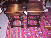 Pair Oak Coffin Stools