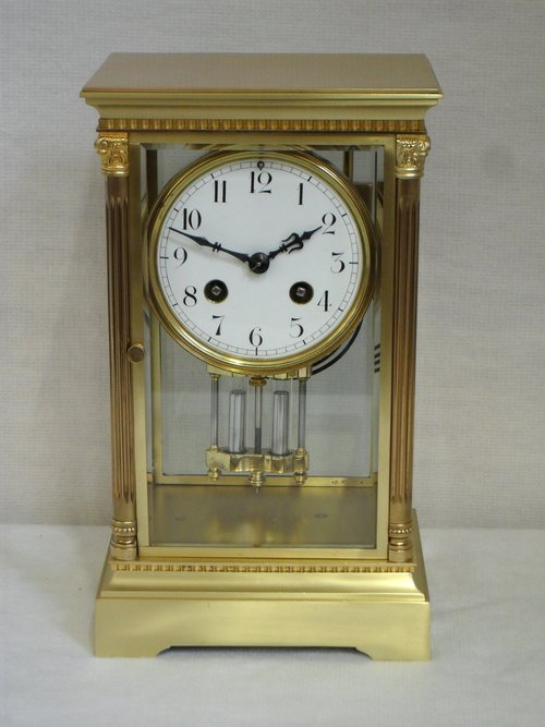 French Antique Mantel Clocks In Glass Case
