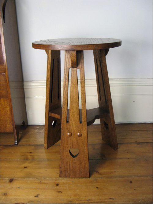 Classic Arts And Crafts Oak Three Legged Lamp Table With Pierced Heart