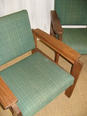 pair of 1950s teak armchairs