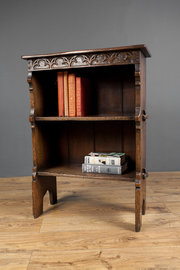 Carved Oak Dwarf Bookcase