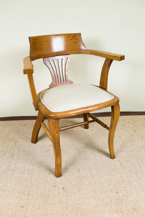 Early 20th Century Edwardian Oak Desk Armchair