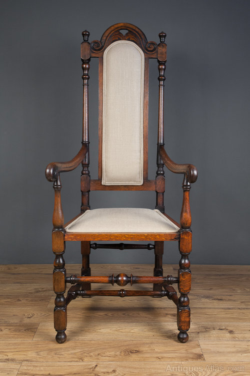 Jacobean Revival Open Arm High Back Chair