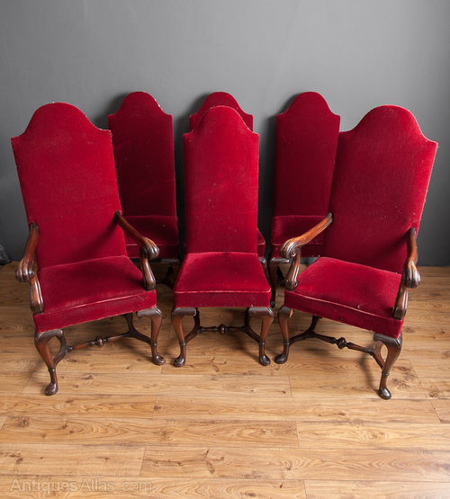 Set Six Upholstered High Back Chairs Antiques Atlas
