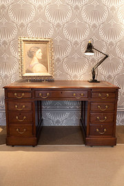 Walnut Pedestal Desk.