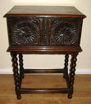 17 th c Carved Oak Bible Box