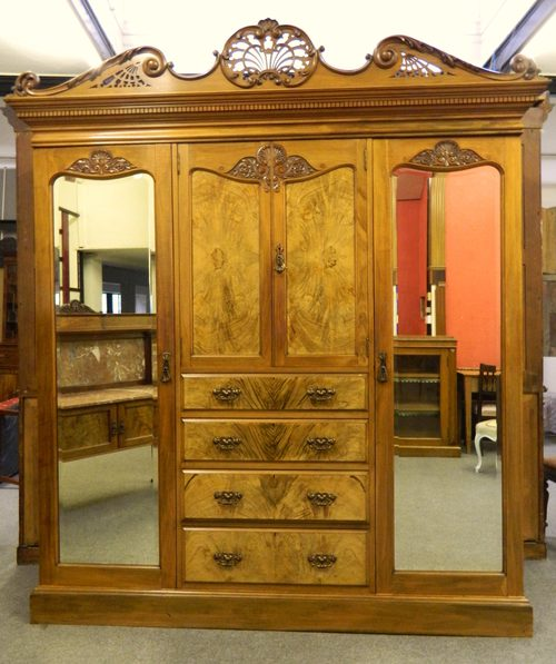 antique large walnut bedroom suite