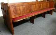 pair of long pine church pews