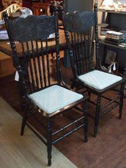 Pair American Spindle-Back Hardwood Chairs