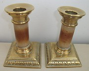 Antique Onyx  Brass candle sti