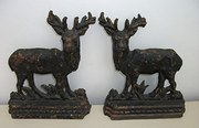 Antique pair of Cast Iron Deer