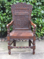 17thc  Wainscott chair carved