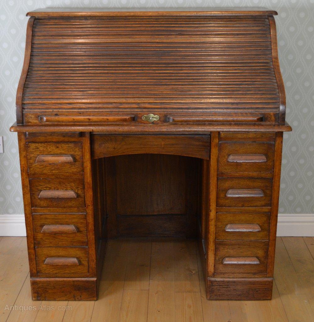 Antique Roll Top Desk Bureau Bureaux Oak Circa 1900 Wooden