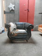 battered leather club chair ci