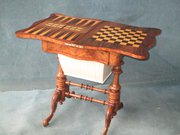 VICTORIAN BURR WALNUT GAMES TA