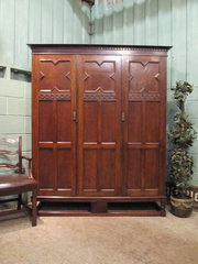 Antique Arts  Crafts Oak Tripl