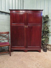 Antique Edwardian Mahogany Gents Wardrobe
