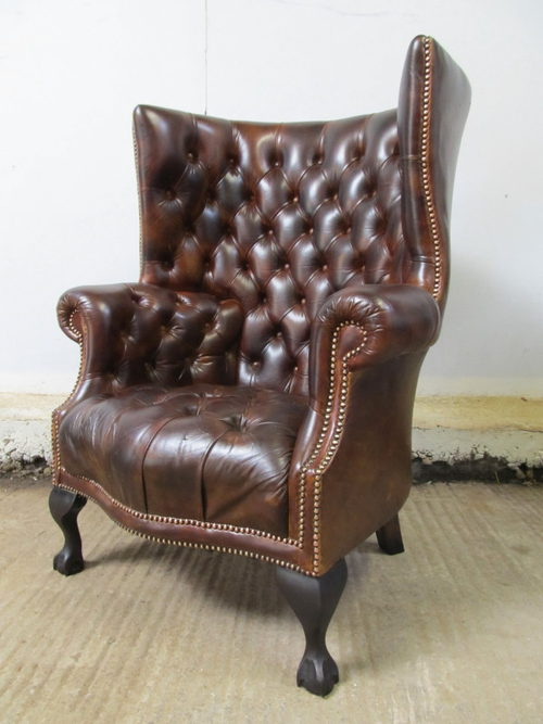 Antique Antique Leather Chesterfield Wing Armchair