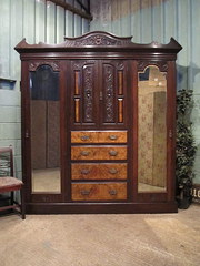 Antique Victorian Mahogany Wal