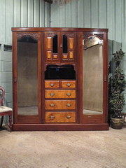 Antique Victorian Walnut Tripl