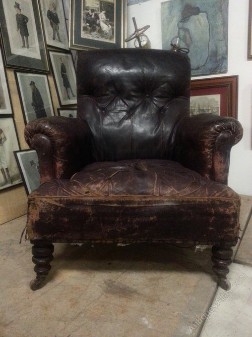 Antique Victorian Leather Chesterfield Armchair Antiques