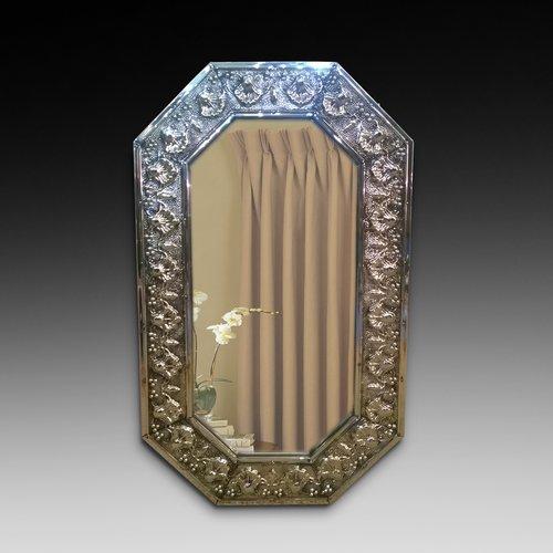 1930's Pressed Brass Octagaonal Mirror