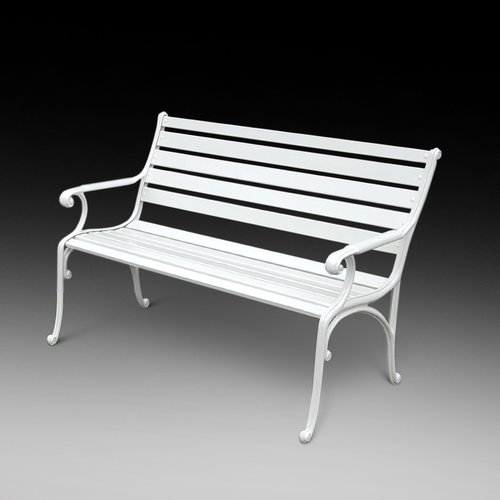 1960's Cast Iron Bench with Foliate Ends and Treat