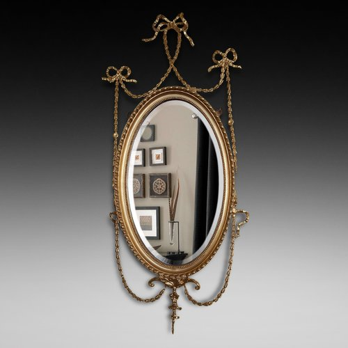 19thC Adam style gilt gesso wall mirror