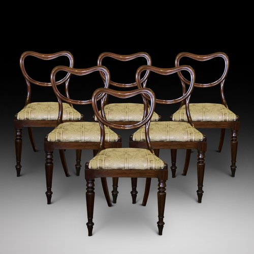 6 Late Regency Rosewood Dining Chairs