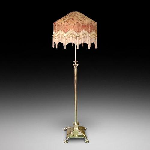 A Victorian Brass Corinthian Column Standard Lamp