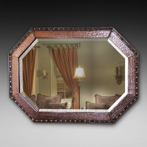 Arts and Crafts Beaten Copper and Brass Mirror