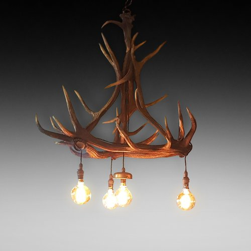 Austro-German Red Deer Antler Mounted Chandelier