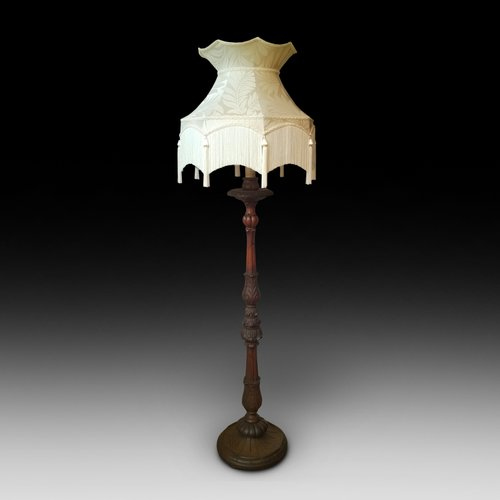 Carved Pitch Pine Standard Lamp