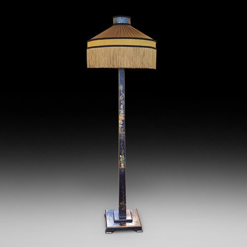 Chinoiserie Black Lacquered and Painted Standard Lamp