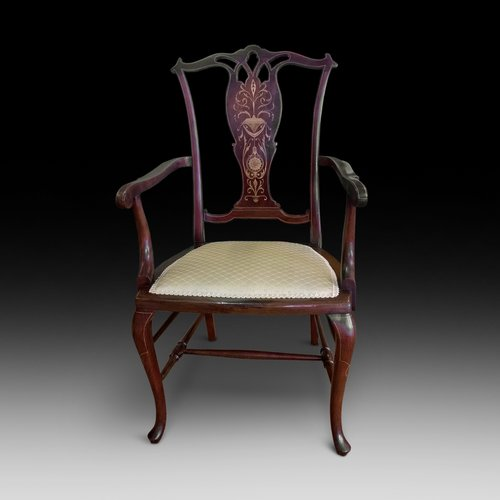Edwardian Mahogany and Satinwood Inlaid Arm Chair
