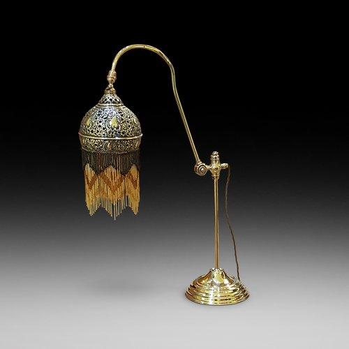 Edwardian Persian Influenced Pierced Brass Table Lamp