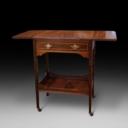Edwardian Rosewood and Inlaid Tea Trolley Table