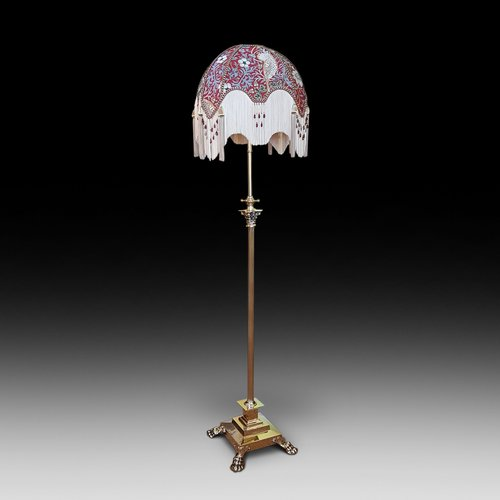 Edwardian brass corinthian column standard lamp