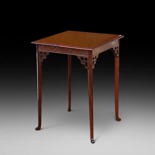 Edwardian mahogany square side lamp table
