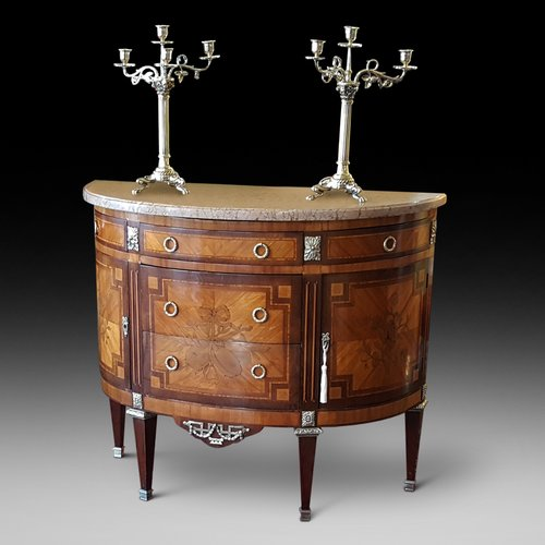 French Mahogany and Kingwood Bow Front Commode