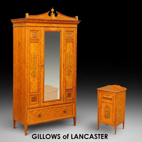 Gillows Satinwood Wardrobe and Bedside Cabinet