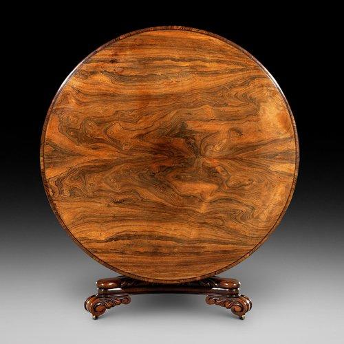Large Late Regency Circular Rosewood Dining Table